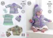 King Cole Baby Jackets, Hats & Dress Knitting Pattern 4996  DK