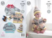 King Cole Baby Cardigans, Sweater & Hat Knitting Pattern 4997  DK