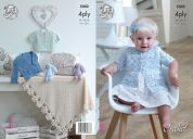 King Cole Baby Matinee Coats, Cardigans & Shawl Giza Sorbet Crochet Pattern 5002  4 Ply