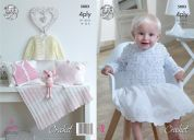 King Cole Baby Dress, Sweater, Cardigan, Waistcoat & Blanket Giza Sorbet Crochet Pattern 5003  4 Ply