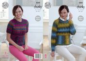 King Cole Ladies Sweater Riot Knitting Pattern 5008  Chunky
