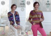 King Cole Ladies Sweater & Cardigan Riot Knitting Pattern 5009  Chunky