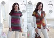 King Cole Ladies Waistcoat & Top Riot Knitting Pattern 5011  Chunky