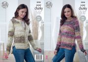 King Cole Ladies Sweater & Cardigan Big Value Tints Knitting Pattern 5028  Super Chunky