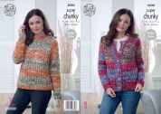 King Cole Ladies Sweater & Cardigan Big Value Tints Knitting Pattern 5030  Super Chunky
