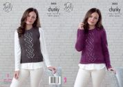 King Cole Ladies Sweater & Slipover New Magnum Knitting Pattern 5032  Chunky