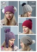 King Cole Ladies Hats Knitting Pattern 5037  Aran
