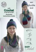 King Cole Ladies Beginner Scarf, Hat & Cowl Riot Crochet Pattern 5057  DK