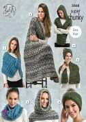 King Cole Ladies Accessories Gypsy Knitting Pattern 5068  Super Chunky
