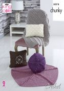 King Cole Home Cushions & Throws Big Value Crochet Pattern 5074  Chunky