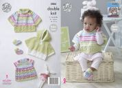King Cole Baby Cape, Top & Bootees Cherish Knitting Pattern 5084  DK