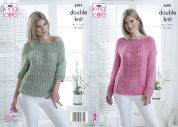 King Cole Ladies Sweater & Top Bamboo Cotton Knitting Pattern 5091  DK