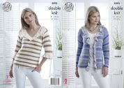 King Cole Ladies Sweater & Cardigan Cottonsoft Crush Knitting Pattern 5093  DK