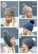 King Cole Kids Hats Knitting Pattern 5100  Aran