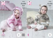 King Cole Baby Hooded Jackets Cottonsoft Baby Crush Knitting Pattern 5104  DK