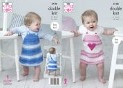 King Cole Baby Pinafores Cottonsoft Baby Crush Knitting Pattern 5106  DK