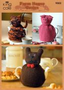 King Cole Animal Shape Tea Cosies Merino Knitting Pattern 9002  DK