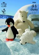 King Cole Penguin, Polar Bear & Seal Toys Cuddles Knitting Pattern 9006  DK, Chunky