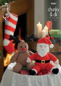 King Cole Christmas Toys & Stocking Cuddles Knitting Pattern 9007  DK, Chunky