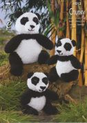 King Cole Adult & Baby Panda Toys Cuddles Knitting Pattern 9013  Chunky