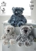 King Cole Teddy Bear Toys Luxe Fur Knitting Pattern 9019  Aran