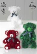 King Cole Teddy Bear Toys Tinsel Knitting Pattern 9021  Chunky