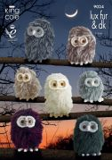 King Cole Owl Toys Luxe Fur Knitting Pattern 9024  Aran, DK