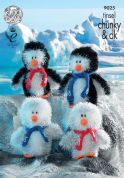 King Cole Penguin Family Toys Tinsel Knitting Pattern 9025  Chunky