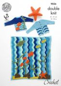 King Cole Baby Under The Sea Blanket, Cardigan & Sweater Drifter Crochet Pattern 9026  DK