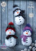 King Cole Christmas Snowman Toys Tinsel Knitting Pattern 9030  Chunky