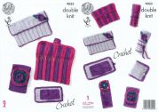 King Cole Hook Roll Needle Case & Accessory Pouch Set Crochet Pattern 9033  DK