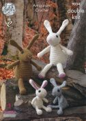 King Cole The Bunny Rabbit Family Toys Amigurumi Crochet Pattern 9034  DK