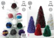 King Cole Christmas Trees & Baubles Tinsel Knitting Pattern 9035  Chunky