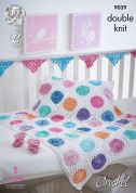King Cole Baby Bunting, Blanket & Booties Vogue Crochet Pattern 9039  DK