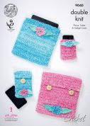 King Cole Accessories Phone & Tablet Cases Vogue Crochet Pattern 9040  DK