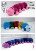 King Cole Caterpillar Toy Doorstop Draught Excluder Tinsel Knitting Pattern 9041  Chunky