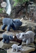 King Cole Mother & Baby Elephants & Rhino Cuddly Toys Merino Crochet Pattern 9046  DK