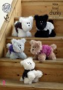 King Cole Westie Style Dogs Cuddly Toys Tinsel Knitting Pattern 9056  Chunky