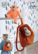 King Cole Orangutan Backpack & Toy Tinsel & Big Value Knitting Pattern 9057  Chunky