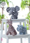 King Cole Giraffe, Hippo & Elephant Cuddly Toys Knitting Pattern 9062  Chunky