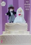 King Cole Bride & Groom Wedding Cake Toppers Knitting Pattern 9067  4 Ply, DK