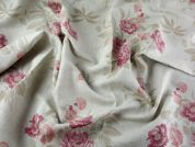 Spanish Floral Linen Dress Fabric  Beige