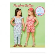 Kwik Sew Girls Easy Sewing Pattern 233 Ruffled Jumpsuit, Romper & Sash