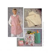 Kwik Sew Ladies Easy Sewing Pattern 2191 Aprons, Shopping Bag & Lunch Bag
