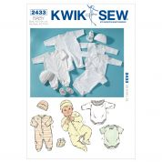 Kwik Sew Baby Sewing Pattern 2433 Rompers, Jumpsuit, Cap & Booties