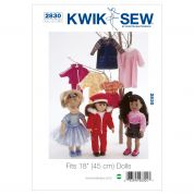 Kwik Sew Crafts Sewing Pattern 2830 Doll Clothes Wardrobe