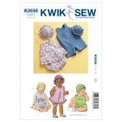 Kwik Sew Baby Sewing Pattern 3035 Sundress, Bloomers, Jumpsuit & Hats