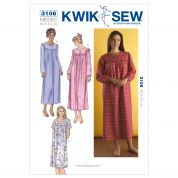 Kwik Sew Ladies Sewing Pattern 3106 Nightgowns Sleepwear