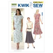 Kwik Sew Ladies Easy Learn to Sew Sewing Pattern 3233 Tops & Skirt