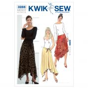 Kwik Sew Ladies Easy Sewing Pattern 3286 Uneven Hemline Skirts